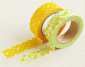 2 Set - Lemon Tree Check Flower Adhesive Masking Tapes (0.6in)