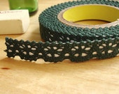 Romantic Lace Adhesive Fabric Tape - Dark Green (0.5in)