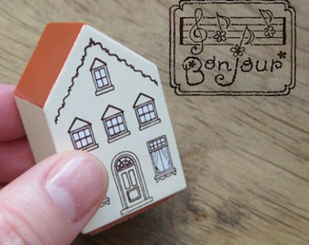 House Shape Music Paper Bonjour Stamp (1.2 x 1in)