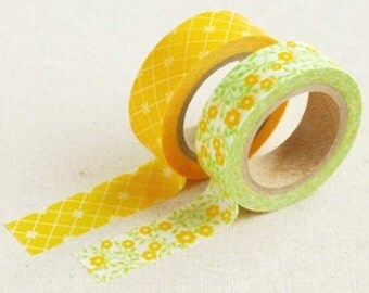 2 Set - Lemon Tree Check Flower Adhesive Masking Tapes (0.6in)