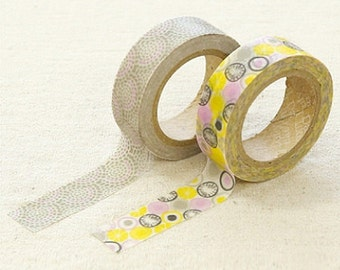 2 Set - Promnade Yellow Circle Adhesive Masking Tapes (0.6in)