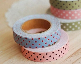Polka Dot Adhesive Fabric Tape - Blue / Red Dot (0.6in)
