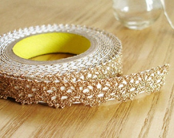 Romantic Lace Adhesive Fabric Tape - Gold  (0.5in)