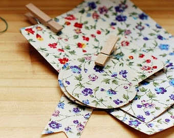 2 Set - Vintage Flower Reform Fabric Stickers (A4)