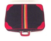 Vintage Suitcase from Peter's Bag Corporation In Navy Blue and Red with Rainbow Stripe