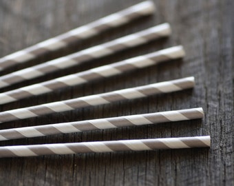 Soft Grey- Paper Straws- Set of 12