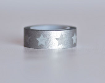 Big Silver Star Washi Tape-  Single Roll 15 mm x 10 m