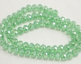 5x8mm Light Green AB Faceted Glass Crystals 20 pcs, 5x8mm crystals