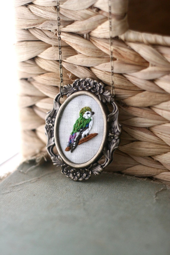 Mrs. Swallow- hand embroidered necklace, bird, woodland, bright, colorful necklace