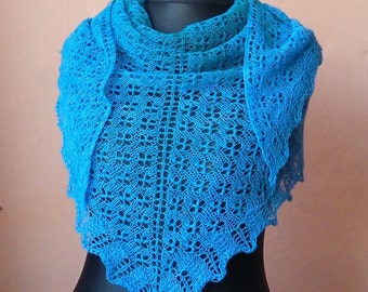 Large hand knitted turquoise blue woolly lace triangular shawl from hand dyed yarn, OOAK