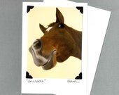 Horse Card - Silly Horse Poses on Butter Yellow Background - Horse Art Print - 10% Benefits Horse Rescue