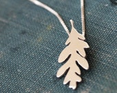 Oak leaf necklace, sterling silver hand cut pendant, tiny nature silhouette jewelry