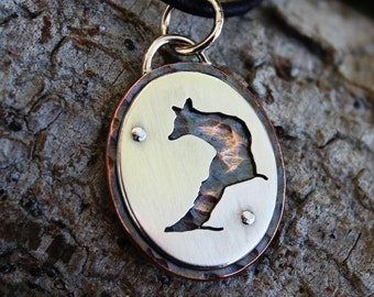 Fox, Elegant sterling silver and copper pendant, handmade, copper necklace, wildlife, nature, animal jewelry