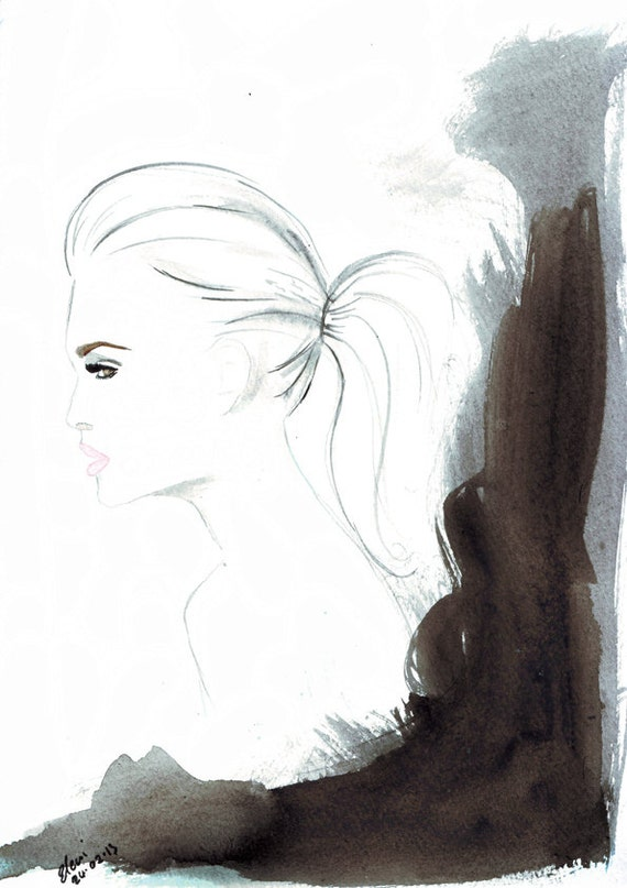 Watercolour fashion illustration Titled Hazel Eyes