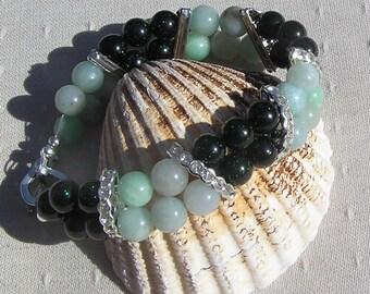 """Amazonite & Green Goldstone Crystal Gemstone Bracelet """"Wild Mint"""", Green Bracelet, Silver Bracelet, Virgo, chakra, Amazonite Bracelet"""