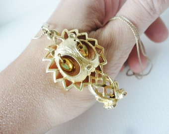 LION vintage necklace with gold tone pendant long thin chain