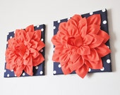 """TWO Wall Flower -Coral Dahlia on Navy and White Polka Dot 12 x12"""" Canvas Wall Art- Flower Wall Art"""
