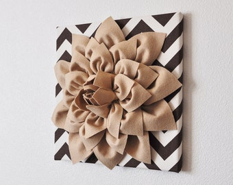 """TWO Flower Wall Hangings -Tan Dahlia Mum on Brown and Natural Chevron 12 x12"""" Canvases Wall Art- 3D Felt Flower"""