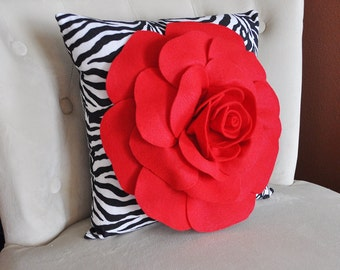 Red Rose on Zebra Pillow  14 x 14