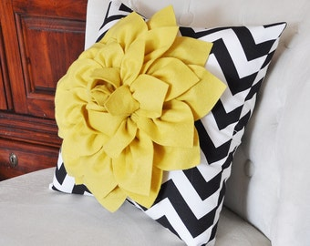 Mellow Yellow Dahlia on Black and White Zigzag Pillow -Chevron Pillow-