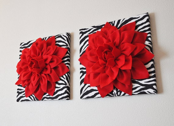 Two wall flowers red dahlia flowers on black and white by for Zebra print and red bathroom ideas