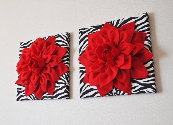 Two Wall Flowers Red Dahlia Flowers On Black And White By