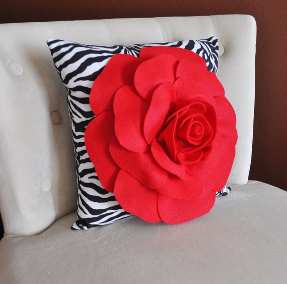 Red Rose on Zebra Pillow  14 x 14