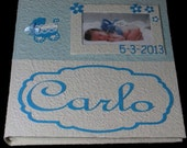Handmade photo album with frame white and blue cotton paper for newborn or baptism baby boy original gift scrapbook