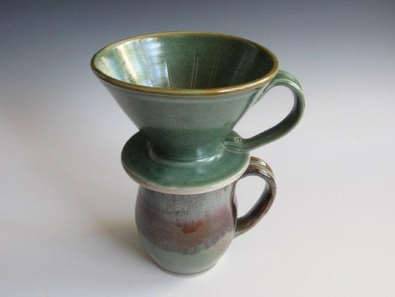 One Cup Ceramic Coffee Maker : Drip coffee maker / handmade / pottery / green / coffee cone