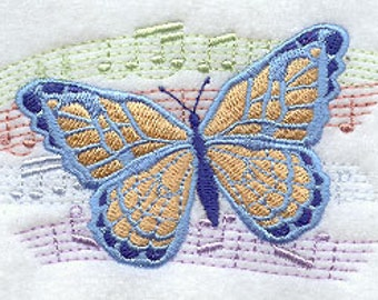 Music of the Butterfly Embroidered Terry Hand, Kitchen or Sports Towel