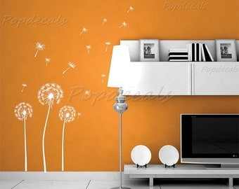 """Dandelion Wall Decals Floral Wall Stickers Flying Seeds Wall Arts Nature Flowers Decal- White Huge Dandelion(43"""" H) -Removable Vinyl Art"""
