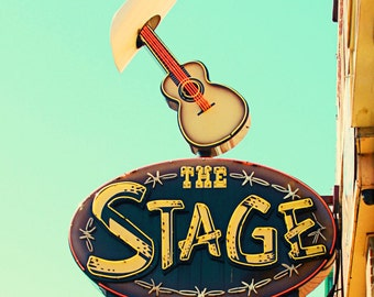 Nashville sign, city art print, The Stage, Nashville decor, neon sign art, music city art, country music decor, Nashville Tennessee art