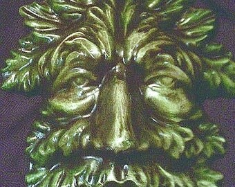 Greenman Plaque Gothic Renaissance Tree Spirit Leafman Pagan Celtic Wicca Indoor Outdoor Home Garden Green Brown Wall Hanging Leaves Decor