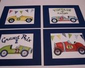 Vintage race car nursery art, race car bedding art prints, race car decor, boy room  wall art