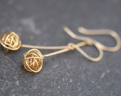 Gold knot earrings, gold dangle earrings, gold love knot