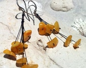 Raw Baltic Amber Earrings, Yellow Amber Dangle Earrings, Polish Amber 925 Jewelry - CrystalMango