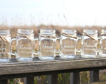 10 Mason Jars mugs, Personalized Mason Jar Mugs, Engraved Mason Jar Mugs, Party favor, Wedding Favor, Bridal Party Mason Jar Mugs