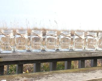 12 Custom Engraved Mason Jar Mugs, Personalized Mason Jar Mugs,  Bridal Party Gifts, Party Favor, Wedding Favors, Wedding Keepsake