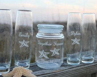 8 Piece Engraved Sand Ceremony Set , 7 pouring vases, starfish, Pesonalized sand ceremony, Wedding Keepsake, Family sand ceremony set.