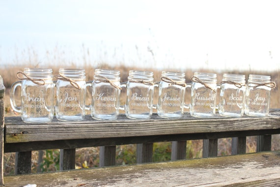 12 Custom Engraved Mason Jar Mugs, Personalized Mason Jar Mugs,  Bridal Party Gifts, Party Favor, Wedding Favors, Wedding Keepsake
