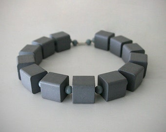 "Wooden Beaded Statement Necklace / Beautiful Oversized Gray Cube Beads / ""STONE BLOCK"""