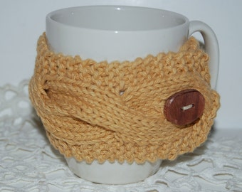 Eco fashion Handknit beige Cup Cozy eco-friendly  cotton, sleeve  warmer hand made wood button Valentines Proudly made in America Ready
