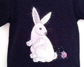 SALE / Rabbit / Handpainted Black Children T Shirt  /  White Bunny / Ladybug / 4T