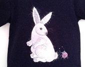 SALE / Rabbit / Handpainted Black Children T Shirt  /  White Bunny / Ladybug / 4T
