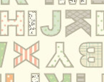 Sale-Lullaby Baby from Anthology Fabrics --  Full or Half Yard Green, Orange, and Gray Letters on White Quilt Fabric