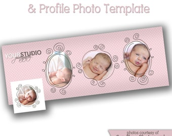 INSTANT DOWNLOAD - Facebook timeline cover photoshop template and coordinating profile thumbnail - 0728