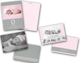 INSTANT DOWNLOAD - Birth announcement photo card templates, 3 pack - 0183-5