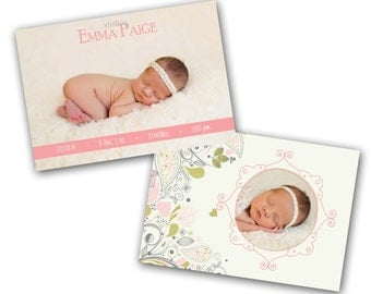 INSTANT DOWNLOAD -   Birth announcement photo card template, 5x7 card - 0786