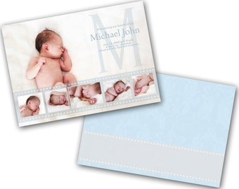 INSTANT DOWNLOAD - Birth announcement photo card template, 5X7 card - 0594