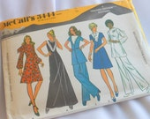Vintage McCalls Sewing Pattern 3444, That Seventies Style Dresses, Tunic Pants